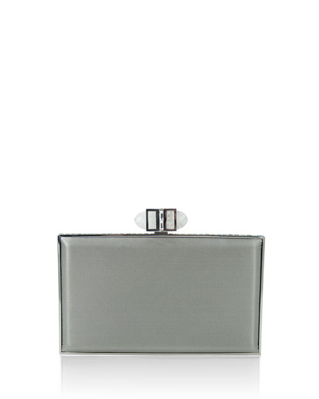 Satin Coffered Rectangle Clutch Bag, Silver
