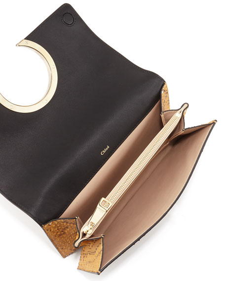 Chloe Gabrielle Python Clutch Bag, Tan