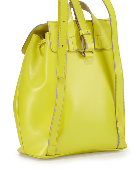 MARC by Marc Jacobs Ligero Leather Flap-Top Backpack, Yellow Zest