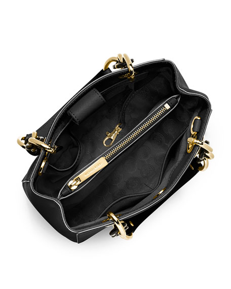 Cynthia Small Saffiano Satchel Bag, Black