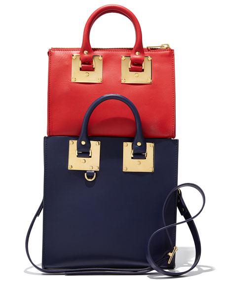 Leather Crossbody Bowling Bag, Red