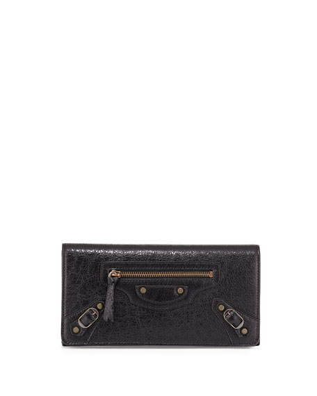 Balenciaga Classic Money Lambskin Wallet, Black