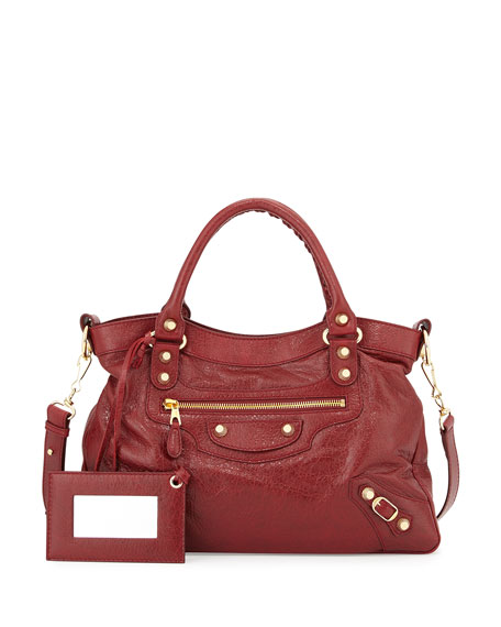 BalenciagaGiant 12 Town Bag, Dark Red