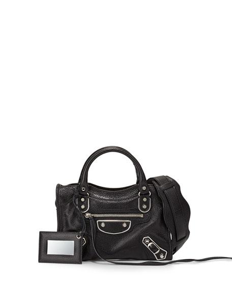 BalenciagaMetallic Edge City Mini Bag, Black