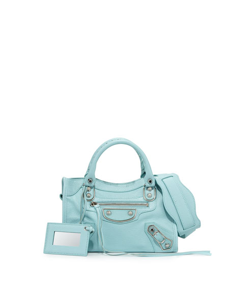 Balenciaga Metallic Edge City Mini Bag, Light Blue
