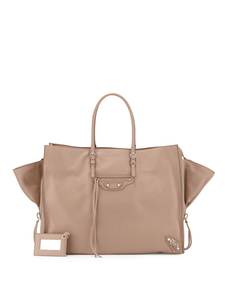 Balenciaga Papier A4 Zip-Around Tote Bag, Beige