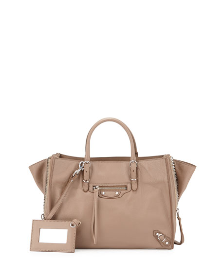 Balenciaga Papier A6 Zip-Around Tote Bag, Beige