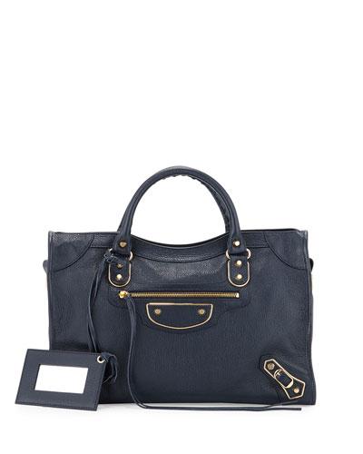 Metallic Edge City Bag, Dark Blue