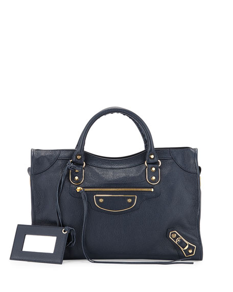 Balenciaga Metallic Edge City Bag, Dark Blue