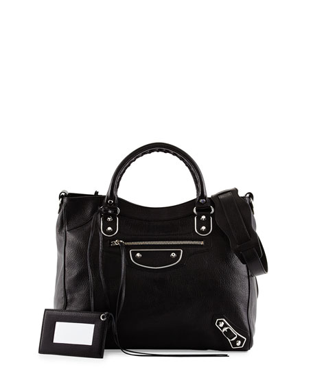 Balenciaga Metallic Edge Classic Velo AJ Bag, Black