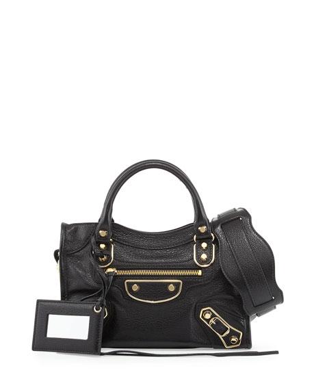 Balenciaga Metallic Edge City Mini Bag, Black