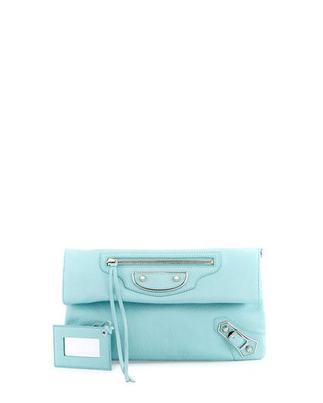 Balenciaga Metallic Edge Envelope Crossbody Bag, Blue