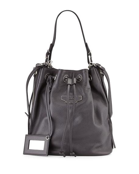 Balenciaga Papier Plate Side-Zip Bucket Bag, Gray
