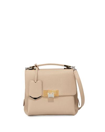 Le Dix Mini Soft Pebbled Satchel Bag, Beige