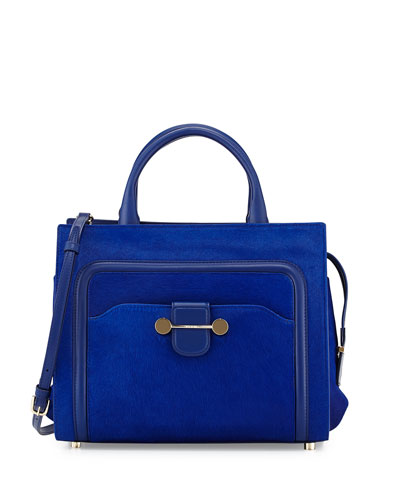 Daphne Calf-Hair Tote Bag, Blue