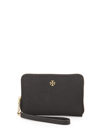 York Multi-Task Saffiano Wristlet Wallet, Black