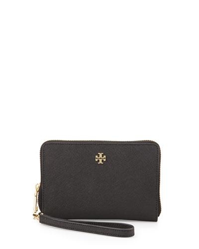 York Multi-Task Saffiano Wristlet Wallet, Black