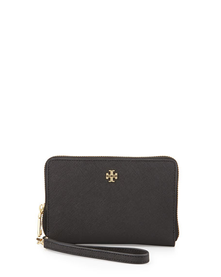 Tory Burch York Multi-Task Saffiano Wristlet Wallet, Black