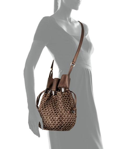 Echo Crochet-Overlay Bucket Bag, Bronze Metallic