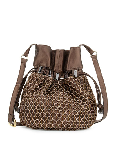 Echo Crochet-Overlay Bucket Bag, Bronze Metallic