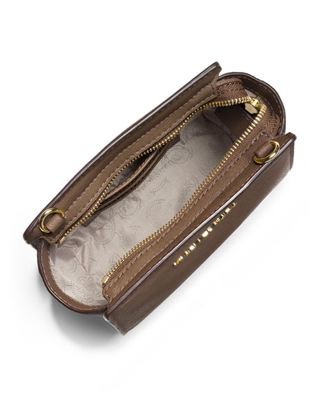 Selma Mini Saffiano Messenger Bag, Dark Dune