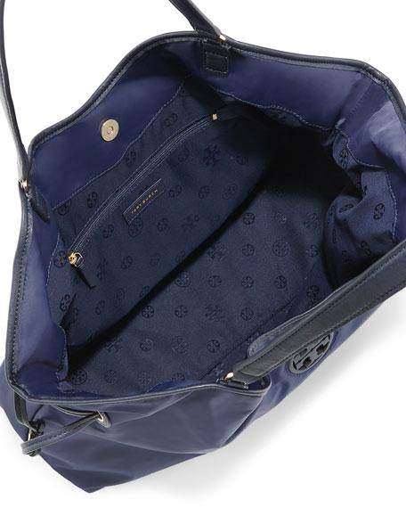 Slouchy Nylon Tote Bag, Tory Navy