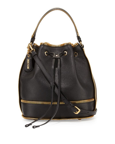 Calfskin Bucket Bag w/Exposed Zipper Trim, Black