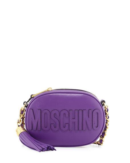 Tassel Shoulder Bag w/Chain Strap, Purple