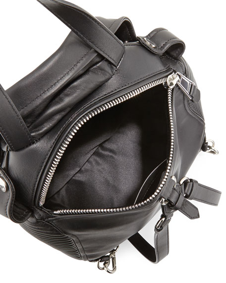 Lambskin Moto Jacket Backpack, Black/Silver