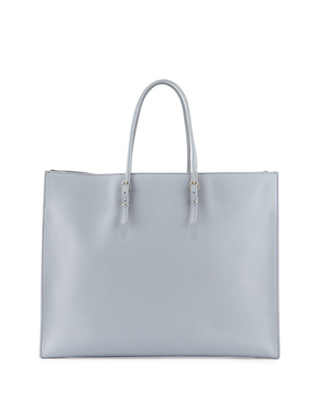 Papier A4 Leather Tote Bag, Iris