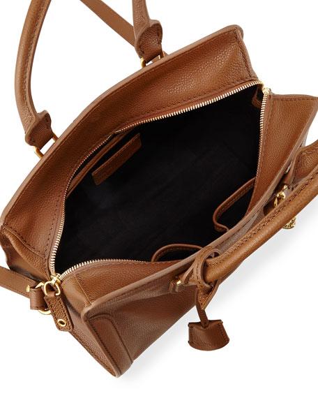 Small Padlock Satchel Bag, Cognac