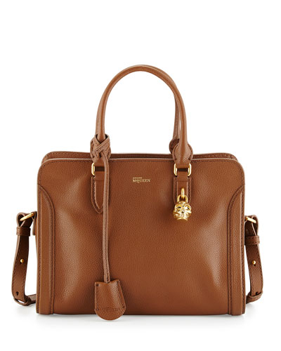 Small Skull Padlock Leather Satchel Bag, Cognac