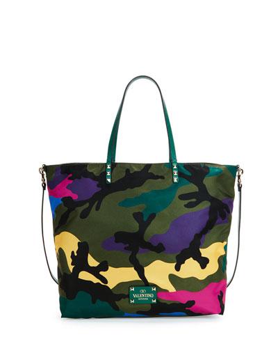 Nylon Camo-Print Easy Tote Bag