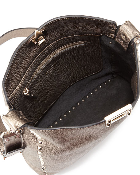 Rockstud Metallic Messenger Bag, Bronze