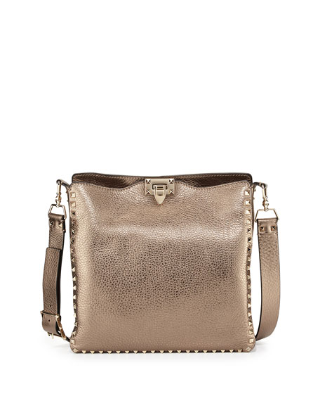 Valentino Rockstud Metallic Messenger Bag, Bronze