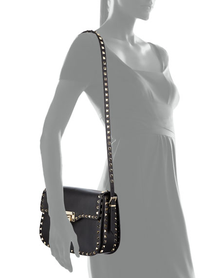 Rockstud Leather Flap-Top Shoulder Bag, Black