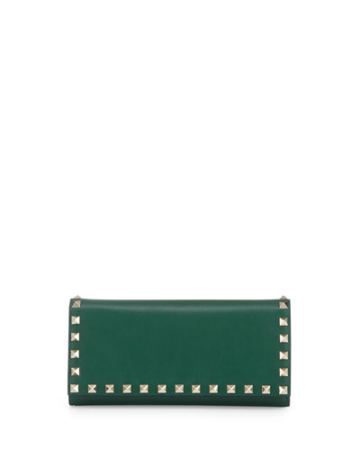 Rockstud Leather Wallet-on-Chain, Green