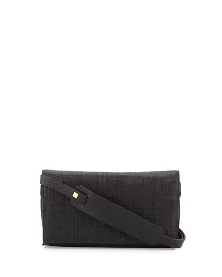 Loewe Calfskin Clutch w/Shoulder Strap, Black
