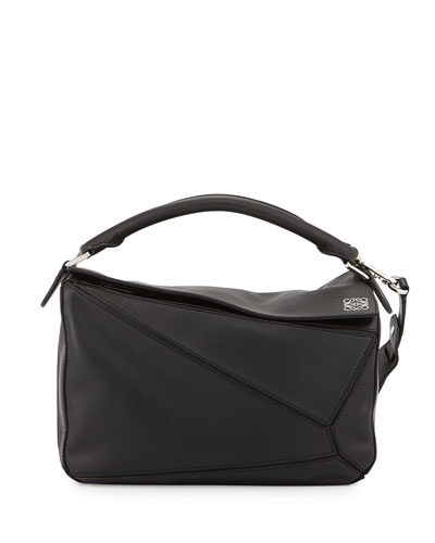 Small Puzzle Satchel Bag, Black