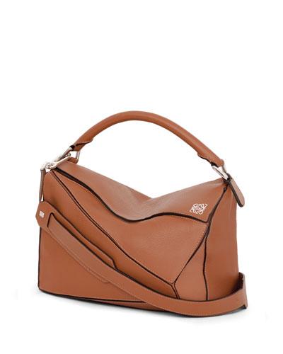 Puzzle Small Satchel Bag, Tan