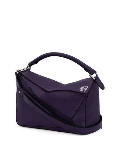 Puzzle Small Satchel Bag, Violet