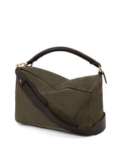 Puzzle Large Satchel Bag, Green