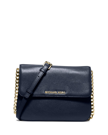 Bedford Double-Gusset Leather Crossbody Bag, Navy