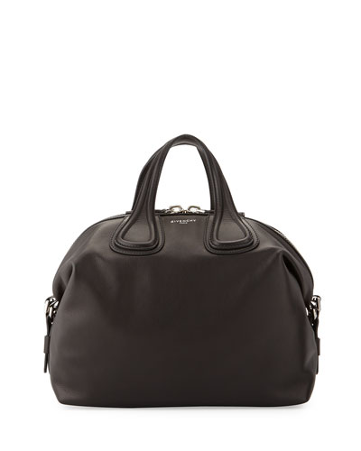 Nightingale Medium Waxy Leather Satchel Bag, Black