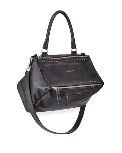 Pandora Medium Studded Satchel Bag, Black