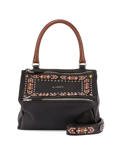 Pandora Small Studded Satchel Bag, Black/Brown