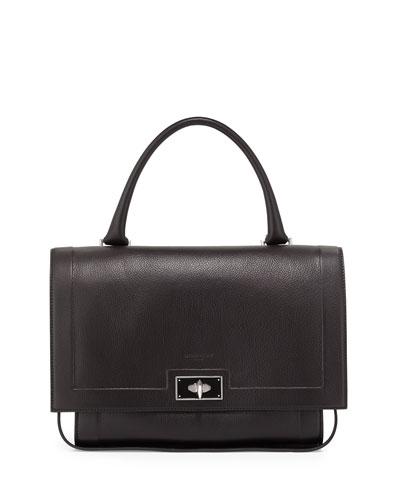Shark Small Waxy Leather Shoulder Bag, Black