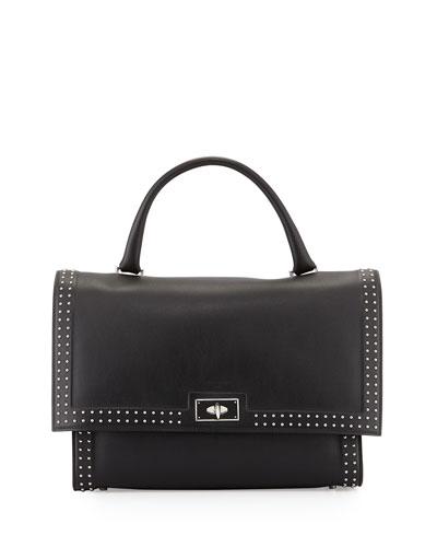 Shark Medium Stud Couture Shoulder Bag, Black