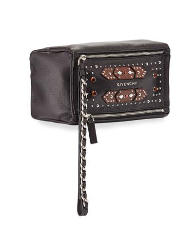 Pandora Calfskin Embellished Wristlet, Black/Brown