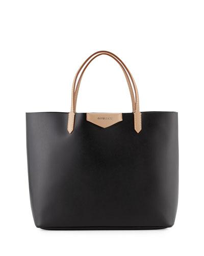 Antigona Large Leather Shopper Bag, Black